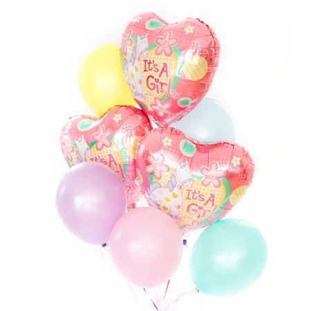 Baby Girl bouquet of 8 balloons added to your gift