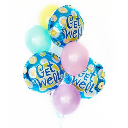 Get Well bouquet of 8 balloons added to your gift