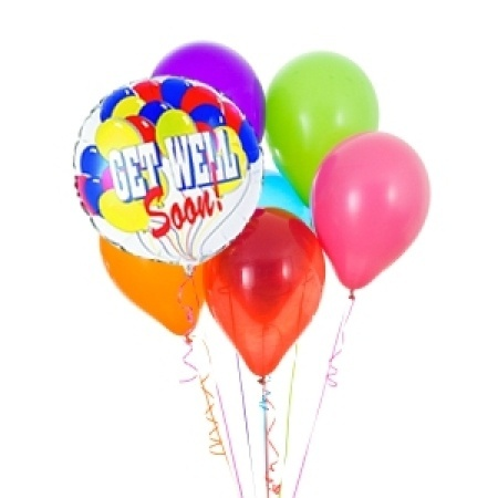 Get Well latex balloon bouquet with 1 foil balloon