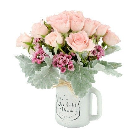 Mason Jar of Pretty Roses