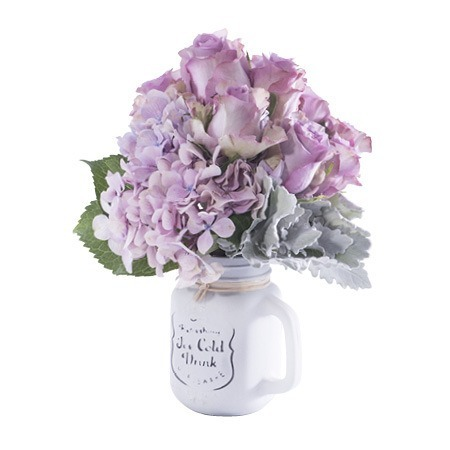 Mason Jar of Roses and Hydrangea