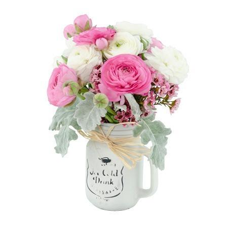 Mason Jar of Spring Ranunculus