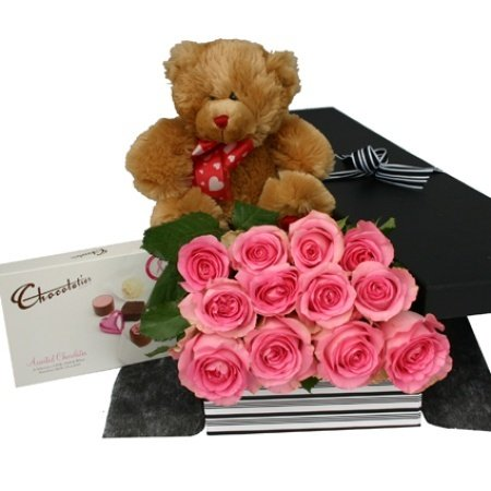 One Dozen Pink Roses Teddy And Chocolates