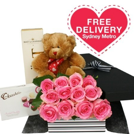 One Dozen Pink Roses Teddy Chocolates And Moet