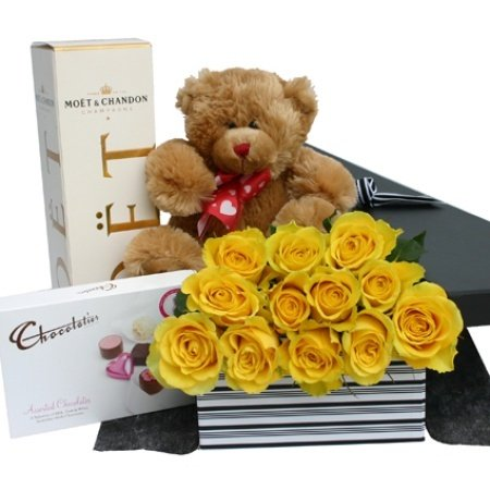 One Dozen Yellow Roses Moet Chocolates And Teddy