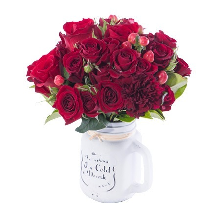 Red Roses and Carnations in Mason Jar