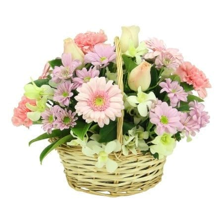 Soft Pastel Flower Basket
