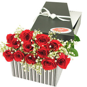 12 Red Roses and Baby`s Breath Oh Baby  Gift Box Delivered in Sydney
