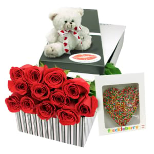 12 Red Roses Super Sweet Valentines Day Gift Box with Chocolate and Teddy Bear Delivered in Sydney