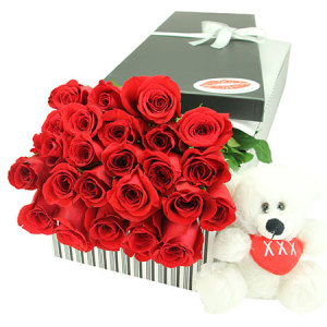 24 Red Roses and Teddy Bear for Valentines Day