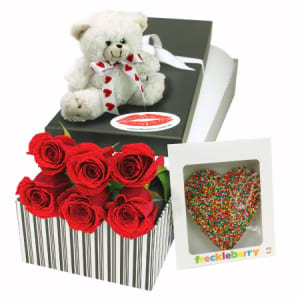 6 Red Roses Sweetest Thing Valentines Day Gift Box Delivered with Chocolate and Teddy Bear in Sydney