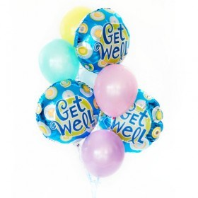 Get Well bouquet of 8 balloons added to your gift flowers - florist central coast