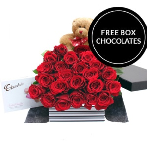 Two Dozen Red Roses Teddy And Chocolates