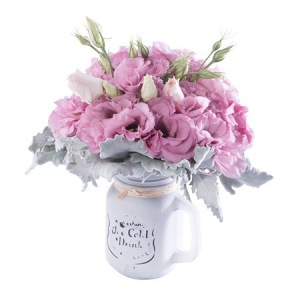 Mason Jar of Flowers - Lisianthus