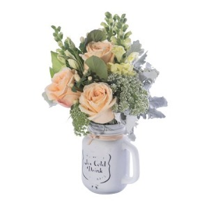 Mason Jar of Mixed Pastel Blooms