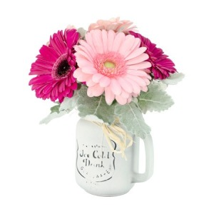 Mason Jar of Mixed Pink Gerberas