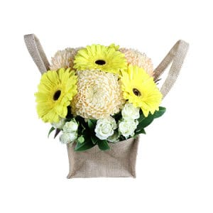 Mellow Yellow in Hessian Bag