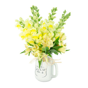 Mixed Lemon Blooms in Mason Jar