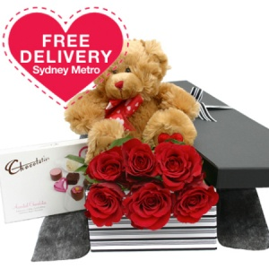 Half Dozen Red Roses Teddy And Chocolates