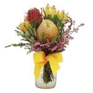 Native Flower Posy in Mason Jar