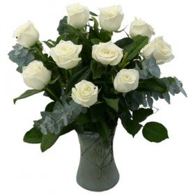 White Roses In A Glass Vase