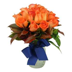 Orange Rose Posy Mason Jar