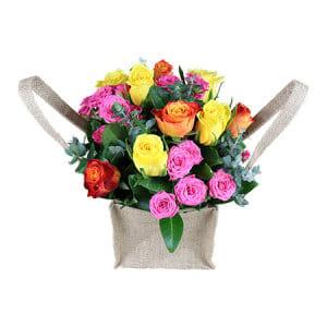 Pretty Roses in Hessian Bag