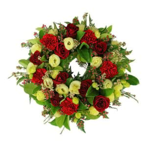 Red and Cream Sympathy Wreath
