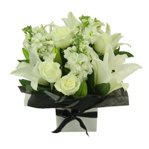 White Box Arrangement - Boxed Flowers flowers - florist central coast