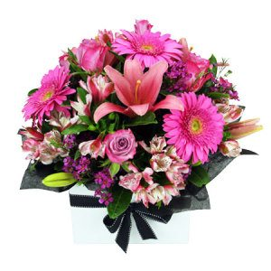 All Pink Box Sympathy flowers