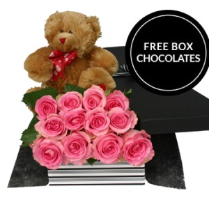One Dozen Pink Roses And Teddy