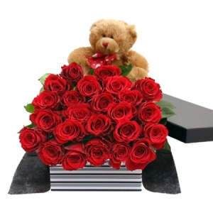 Two Dozen Red Roses And Teddy