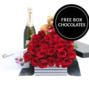Two Dozen Red Roses Teddy and Chandon