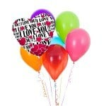 I love you latex balloon boquuet with 1 foil balloon